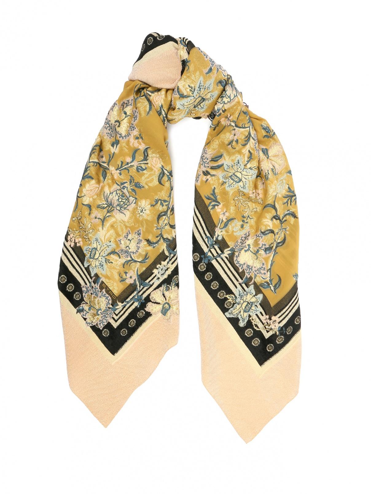 Платок из шелка с цветочным узором Etro  –  Общий вид