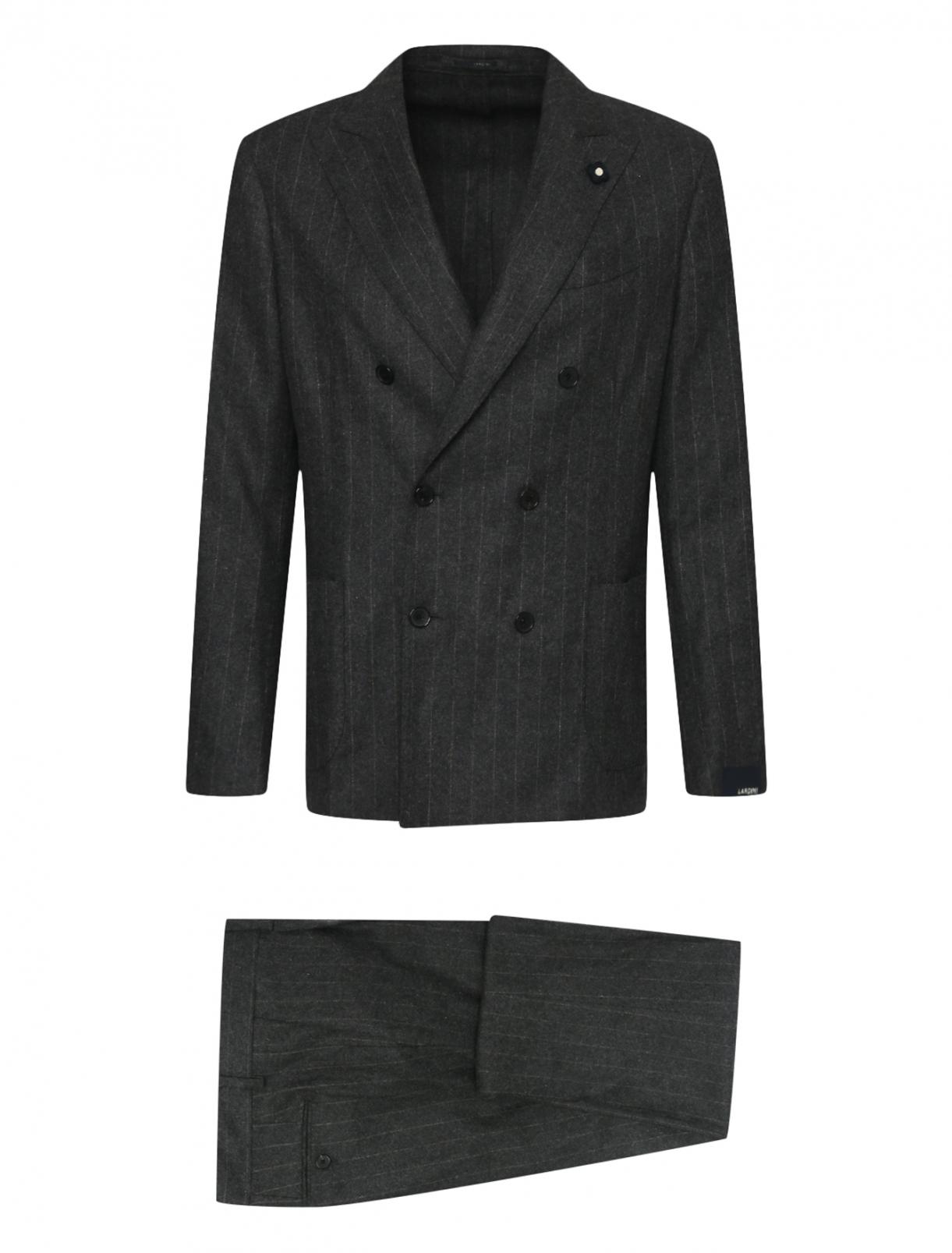 Двубортный костюм из смесовой шерсти в полоску LARDINI  –  Общий вид