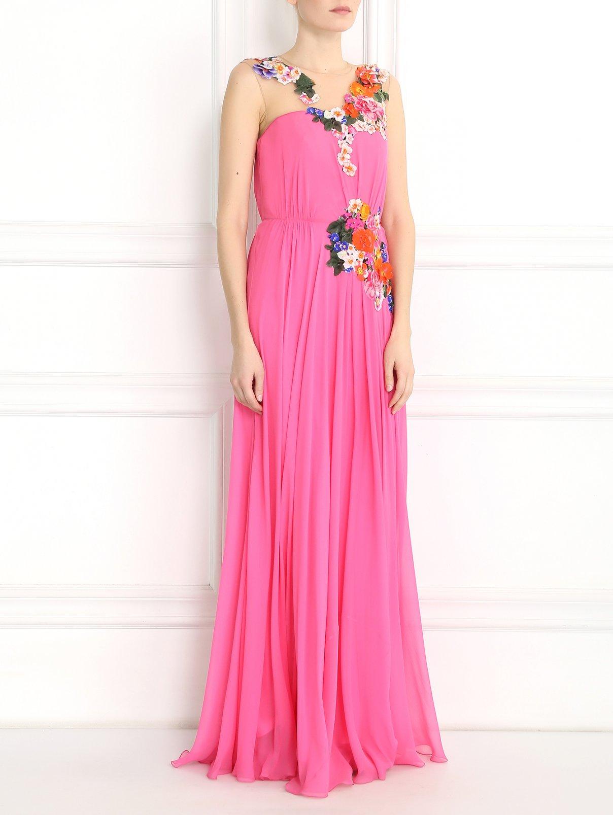 Платье-макси из шелка с цветочным узором Alberta Ferretti  –  Модель Общий вид