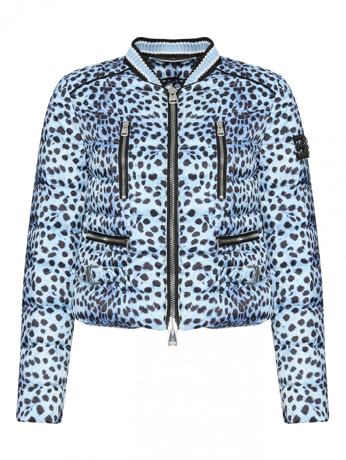 Куртка укороченная на молнии с животным узором Ermanno Scervino  –  Общий вид