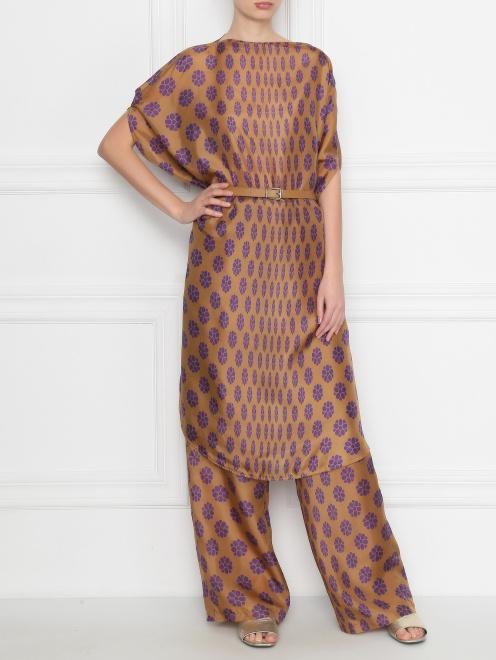 Платье из шелка свободного кроя с узором MM6 - Общий вид