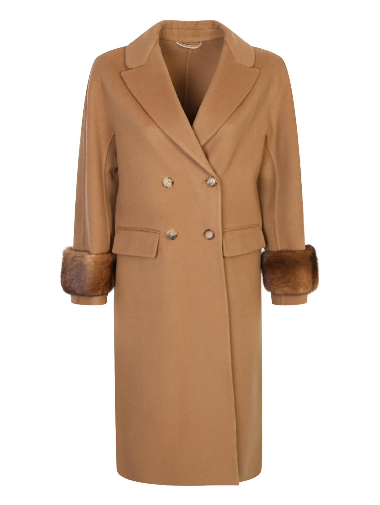 Пальто из шерсти с отделкой из меха-норки Ermanno Scervino  –  Общий вид