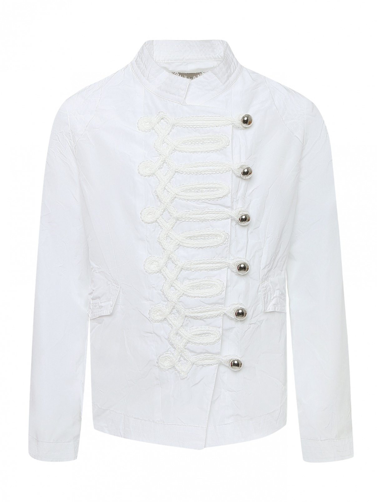 Куртка из жатой ткани с декоративной тесьмой Ermanno Scervino Junior  –  Общий вид