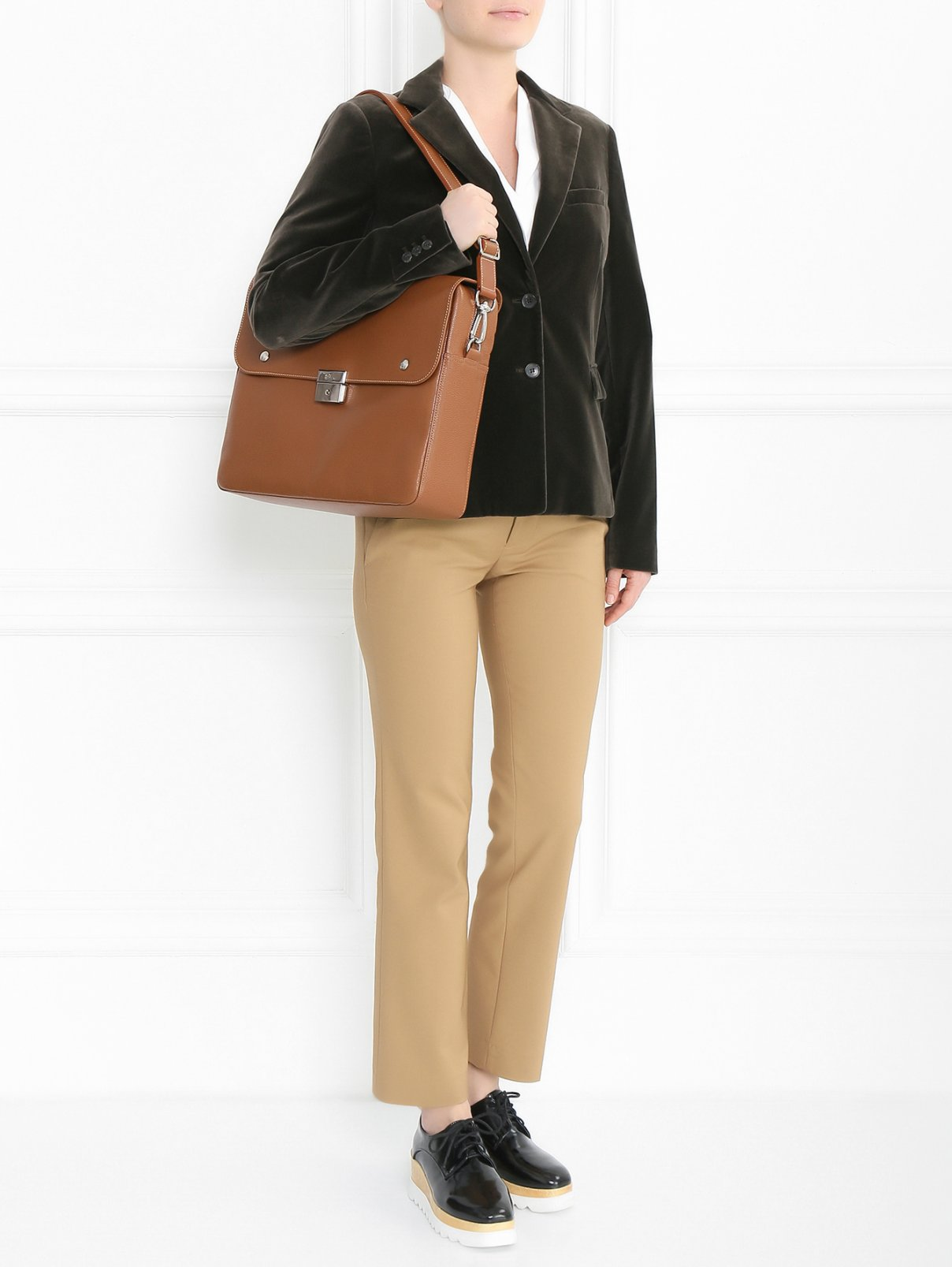 Портфель из фактурной кожи со съемным плечевым ремнем Longchamp  –  Модель Общий вид