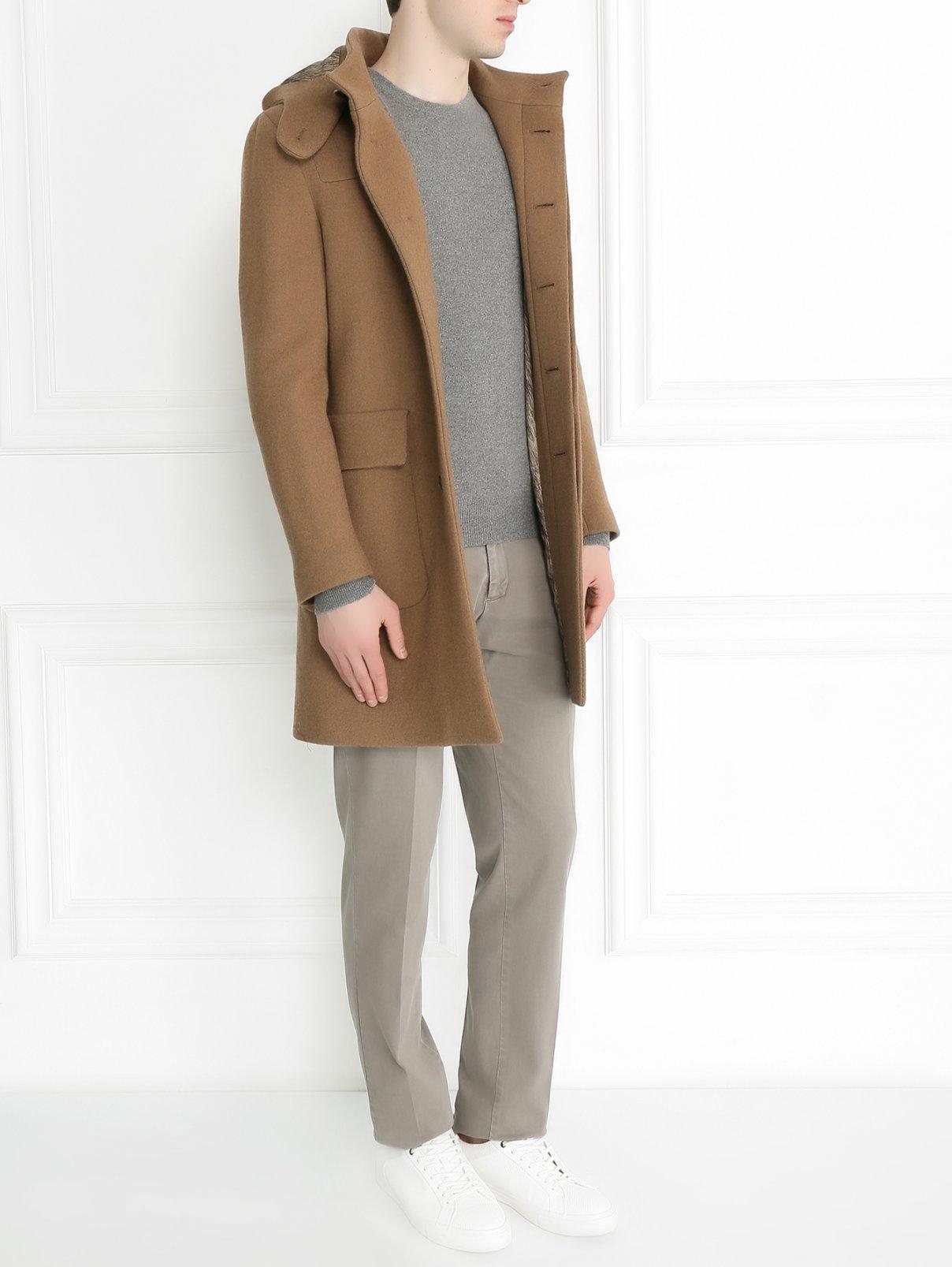 Пальто из шерсти на пуговицах с капюшоном Etro  –  Модель Общий вид