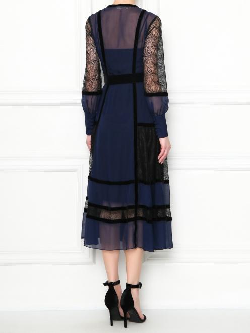Платье-миди из шелка с кружевной отделкой Diane von Furstenberg - МодельВерхНиз1