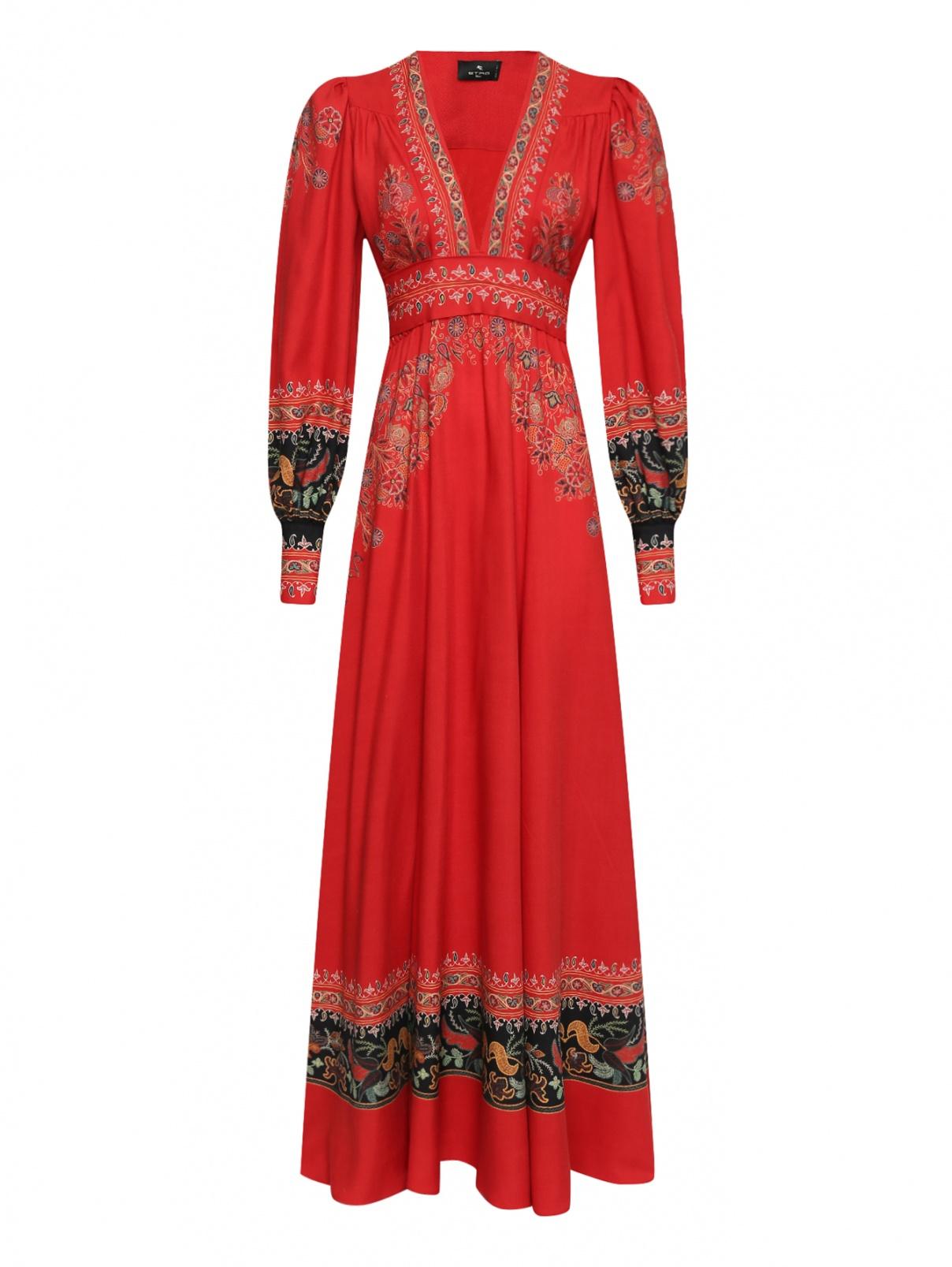 Платье-макси из шерсти и шелка с узором Etro  –  Общий вид