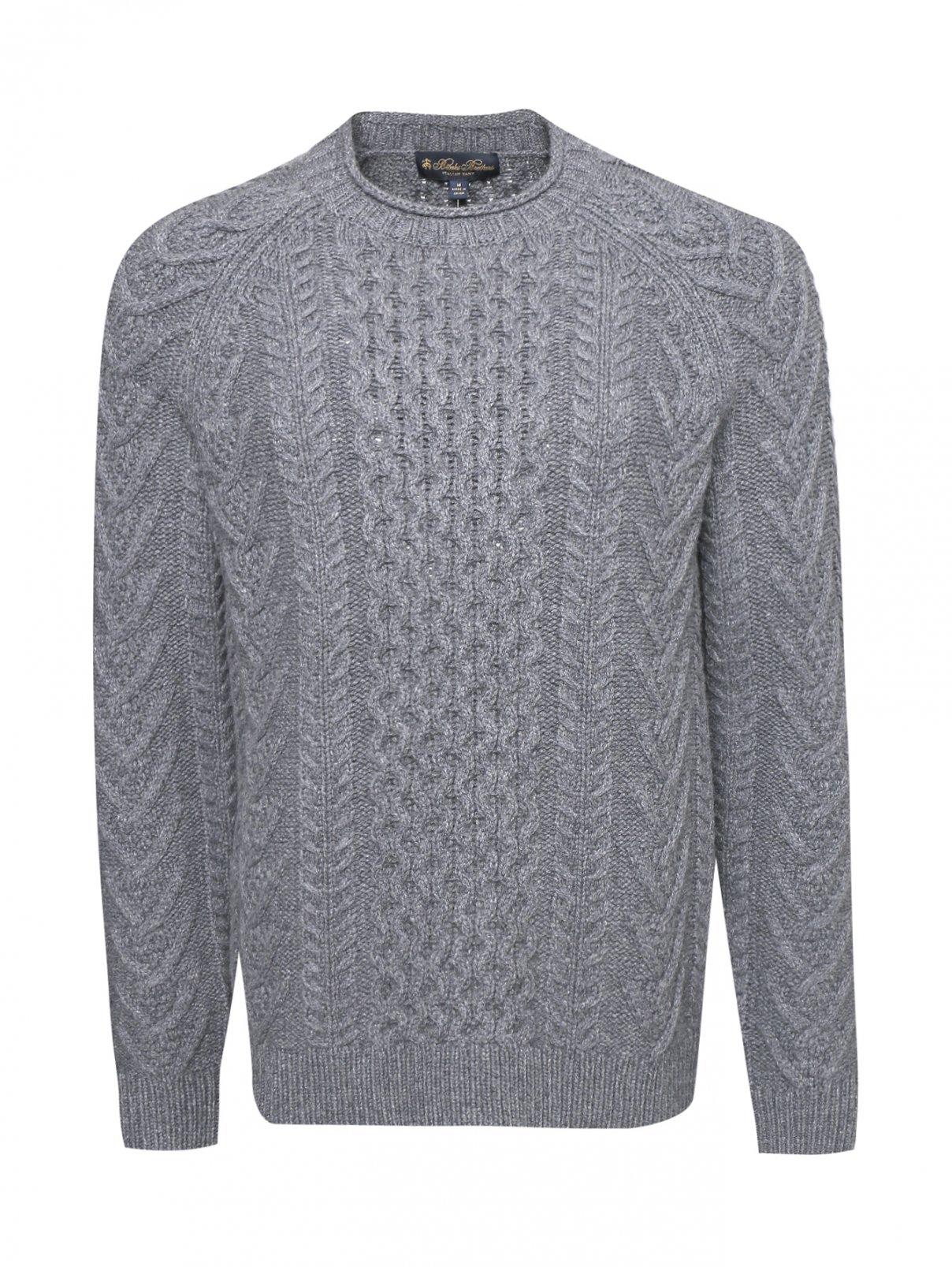 Джемпер из шерсти с узорной вязкой Brooks Brothers  –  Общий вид