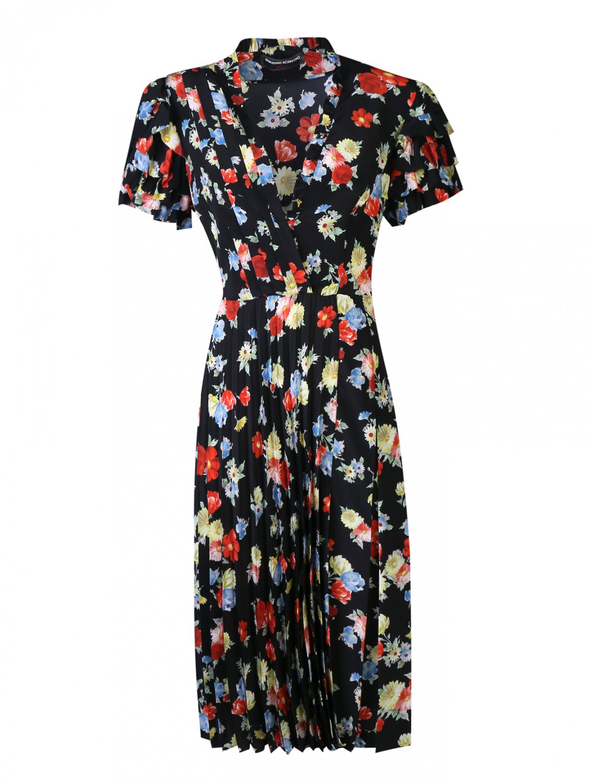 Платье-миди из шелка с цветочным узором Ermanno Scervino  –  Общий вид