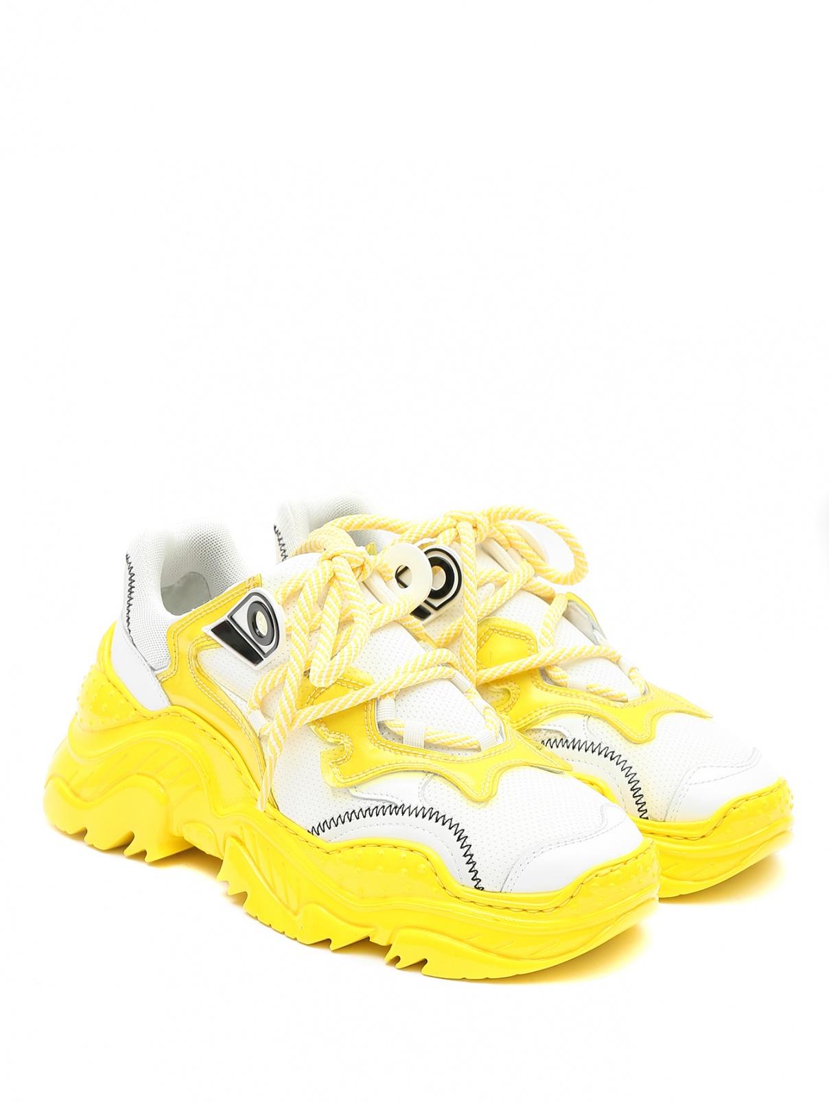 Кроссовки из ткани и кожи на контрастной подошве N21  –  Общий вид