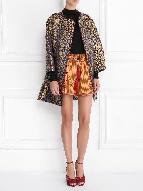 Легкое пальто с узором свободного кроя - Общий вид