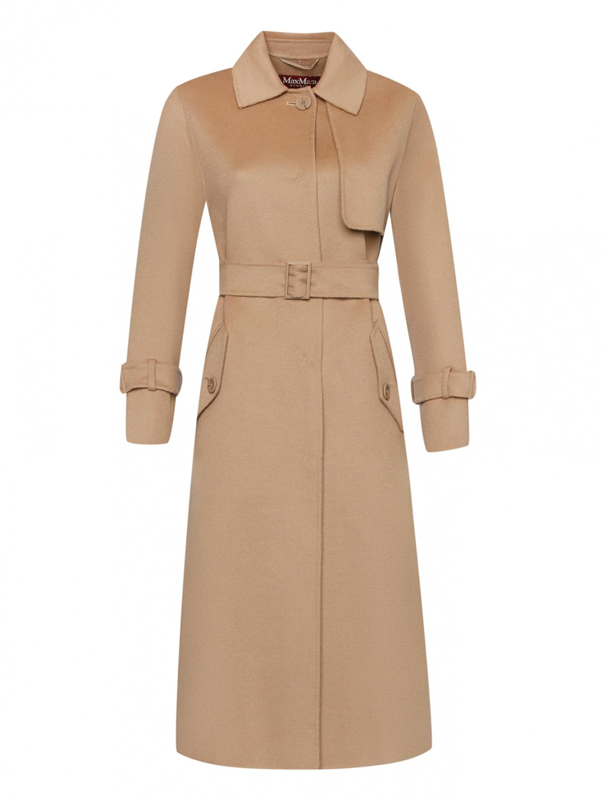 Пальто из шерсти, кашемира и шелка с поясом Max Mara  –  Общий вид