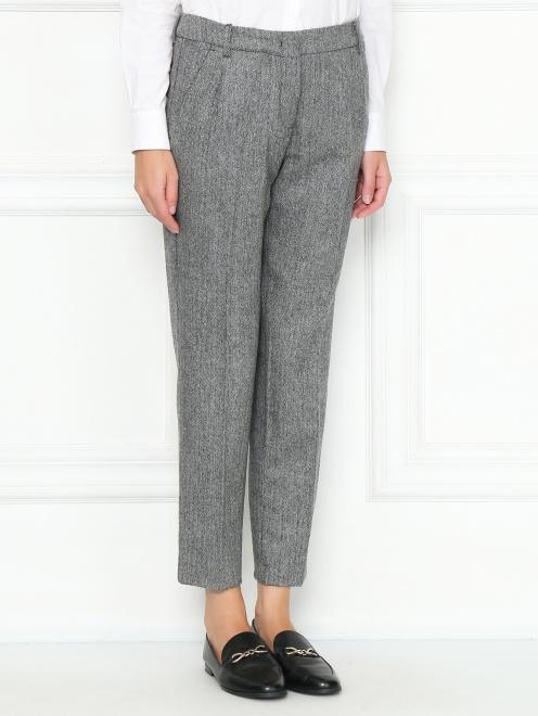 Укороченные брюки из шерсти с карманами - МодельВерхНиз
