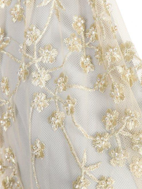 Платье-макси с полупрозрачной отделкой и декоративными бантами - Деталь1