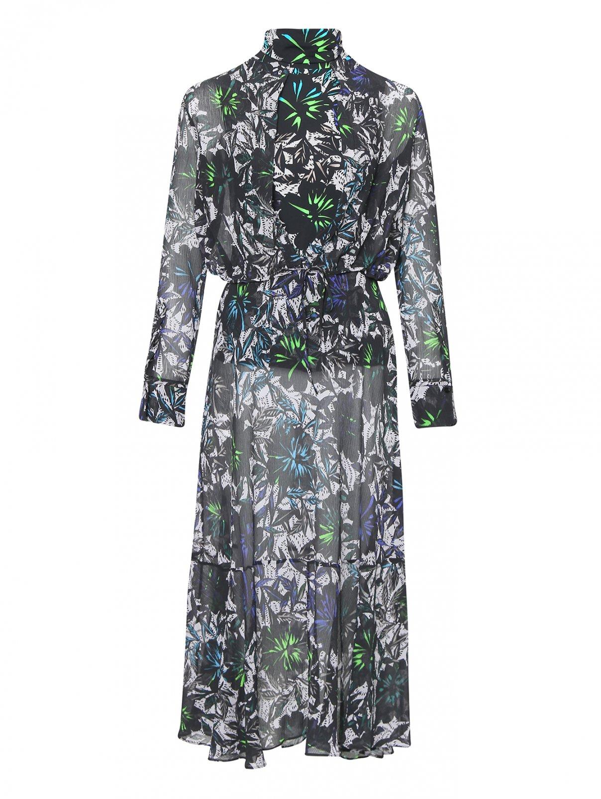 Платье из жатого хлопка и шелка с принтом Dorothee Schumacher  –  Общий вид