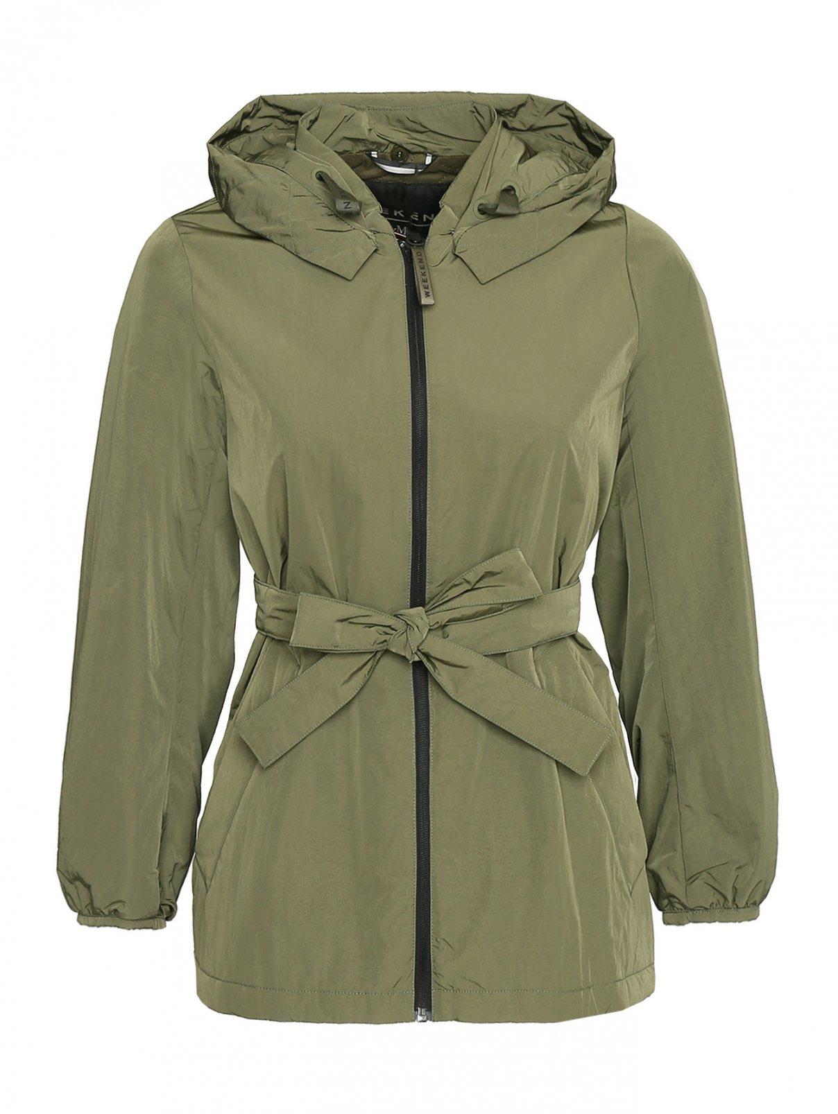 Куртка на молнии с поясом и отстегивающимся капюшоном Weekend Max Mara  –  Общий вид