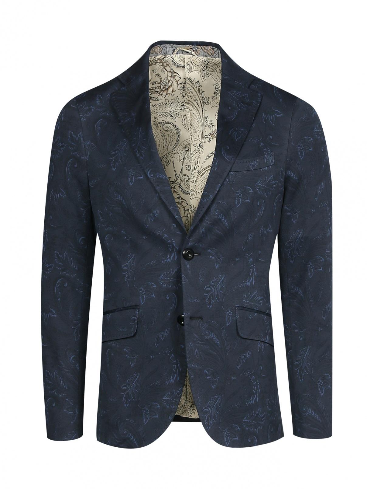 Пиджак однобортный из хлопка с узором Etro  –  Общий вид