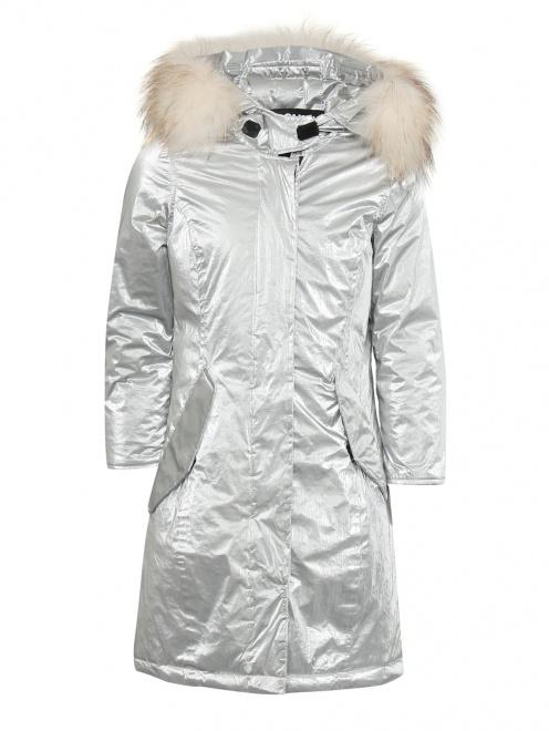 Куртка удлиненная с капюшоном с меховой отделкой - Общий вид
