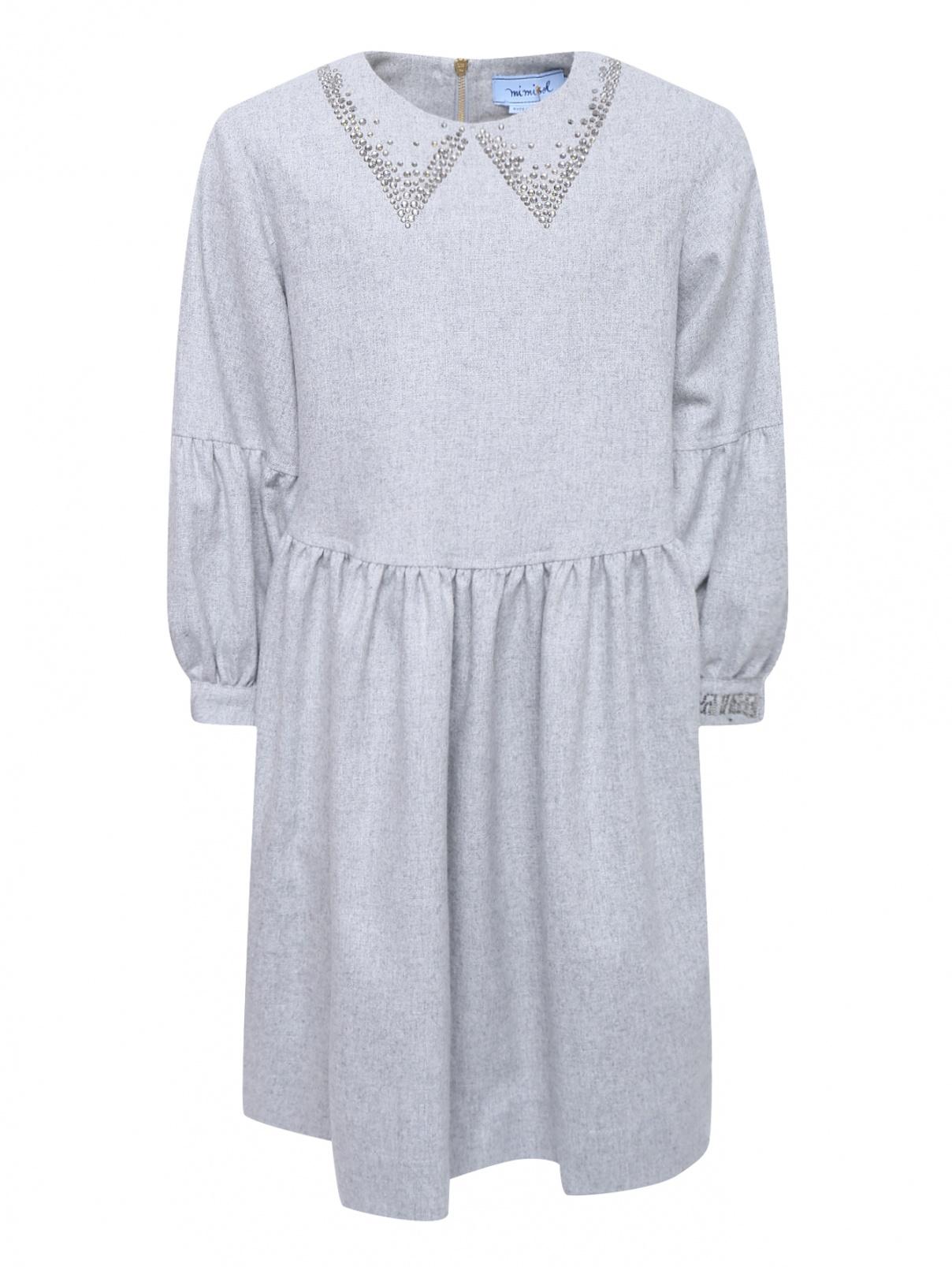 Платье шерстяное со стразами Mi Mi Sol  –  Общий вид