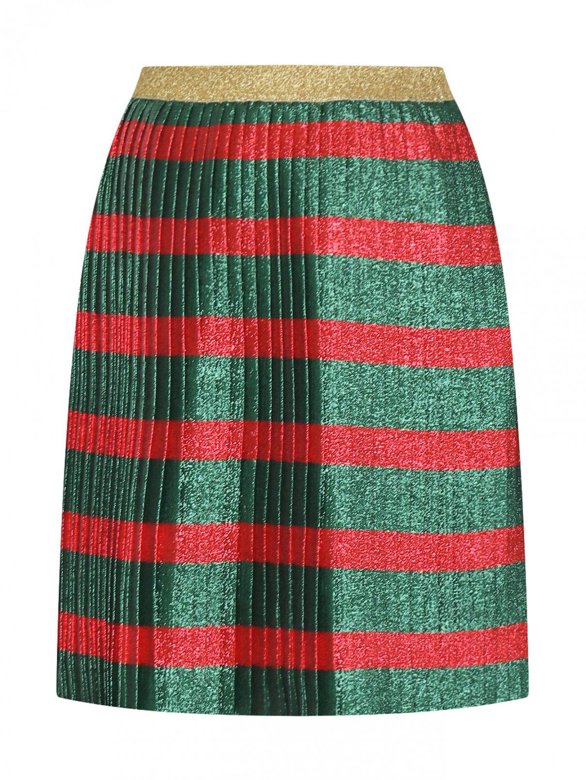 Плиссированная юбка миди в полоску Gucci  –  Общий вид