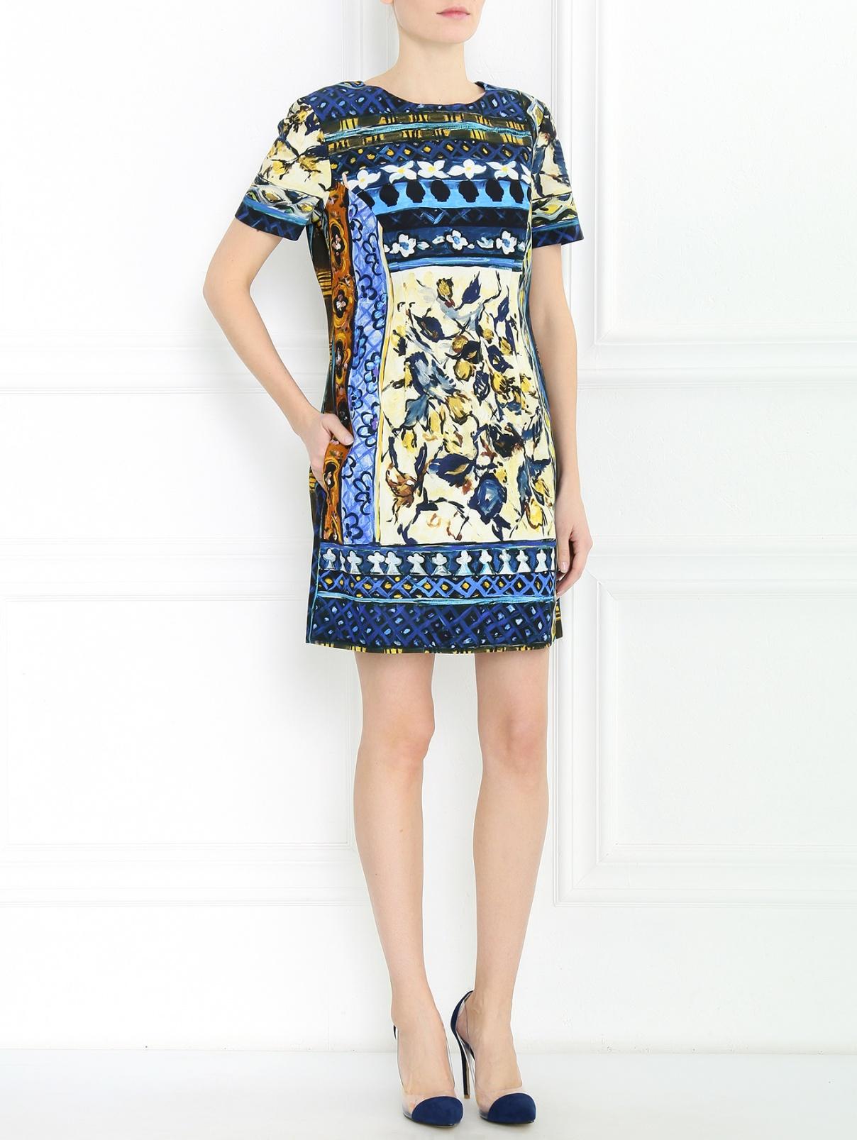 Платье из хлопка с узором Alberta Ferretti  –  Модель Общий вид