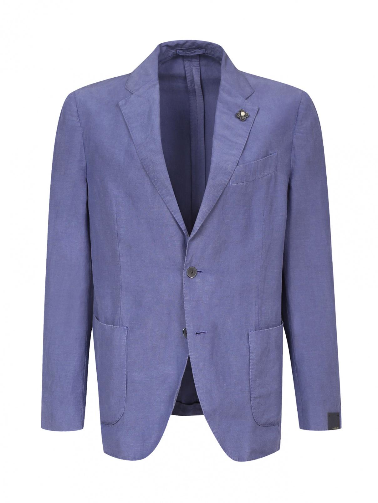 Пиджак однобортный из льна и шелка LARDINI  –  Общий вид