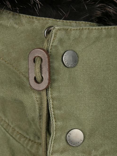 Куртка из хлопка с меховой подкладкой Yves Salomon - Деталь