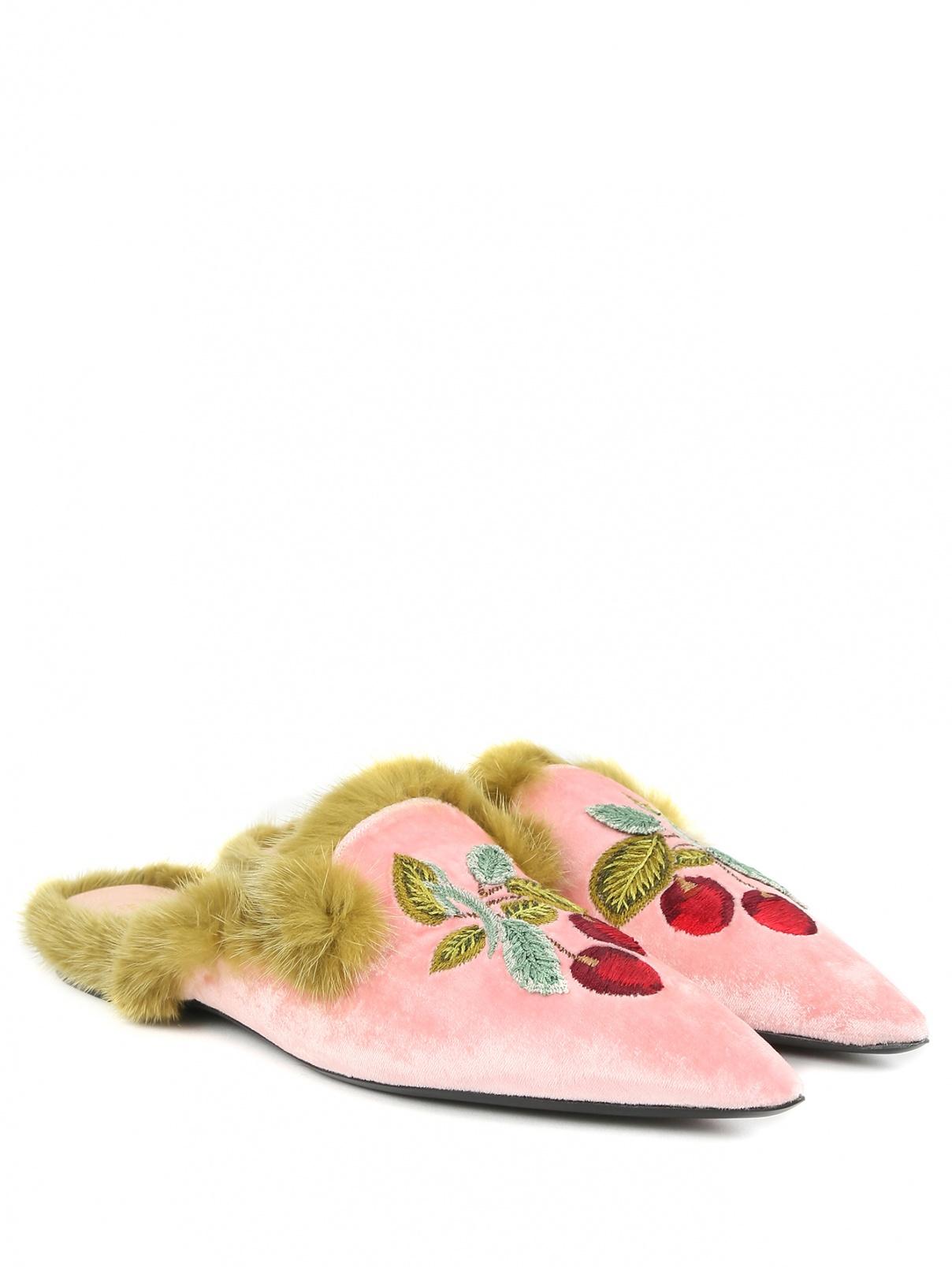 Мули из бархата с вышивкой и декоративной меховой отделкой Alberta Ferretti  –  Общий вид