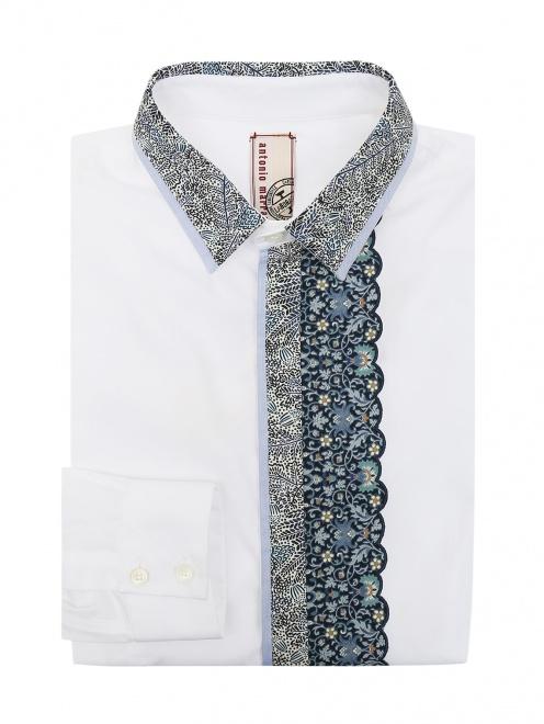 Рубашка из хлопка с контрастной вставкой - Общий вид