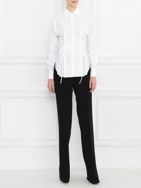 Блуза из хлопка со шнуровкой - Общий вид