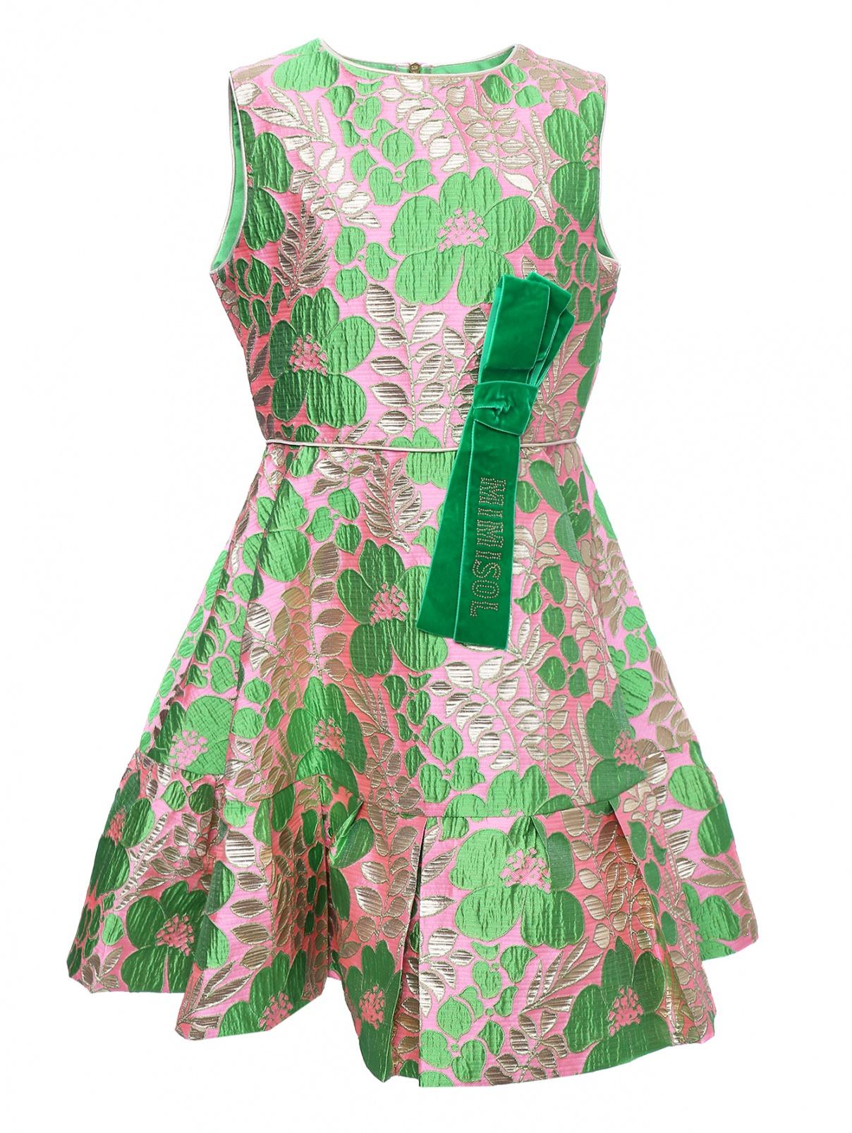 Платье из жаккарда с бархатным бантиком Mi Mi Sol  –  Общий вид