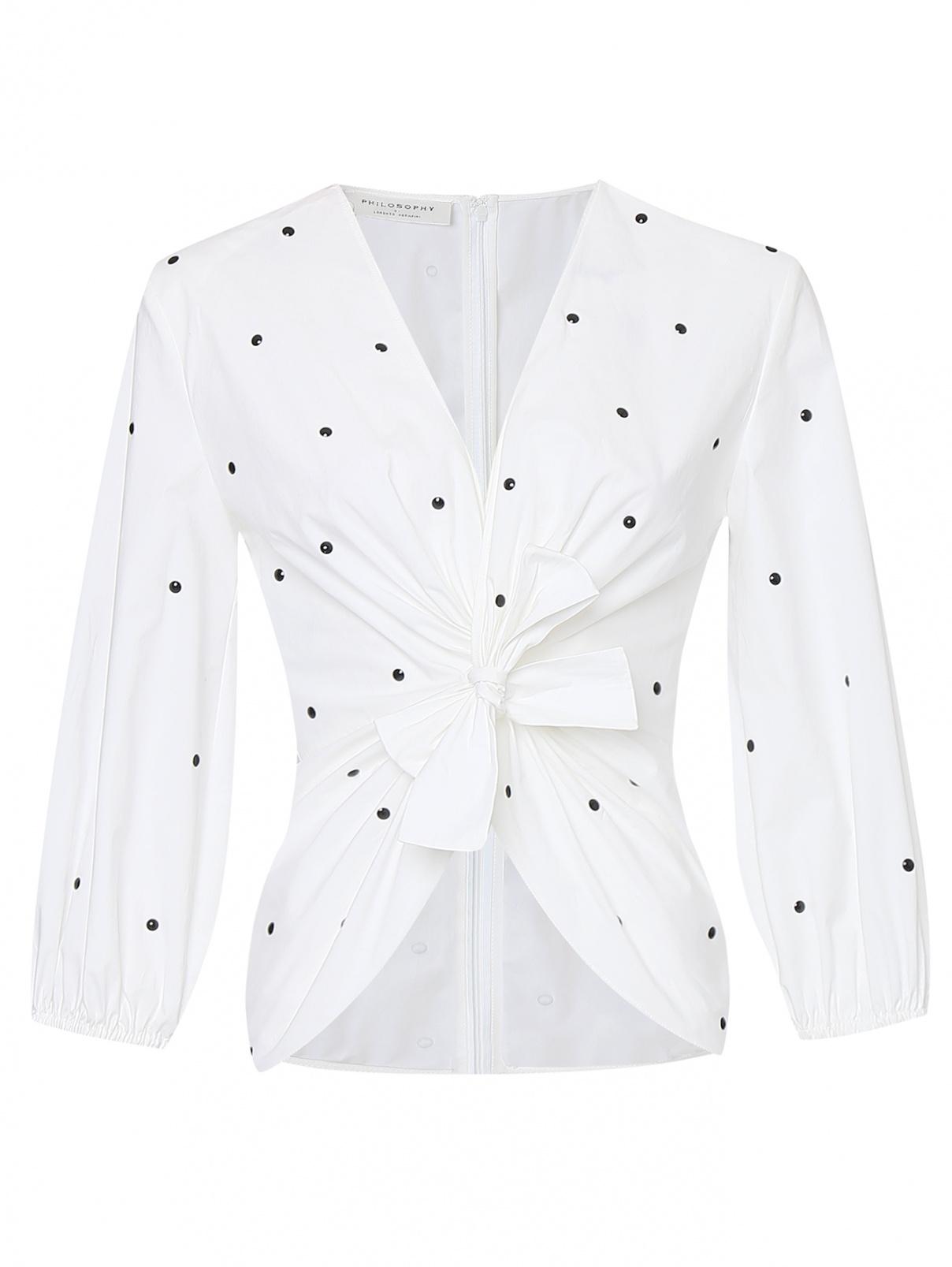 Блуза из смешанного хлопка декорированная заклепками Philosophy Di Lorenzo Serafini  –  Общий вид
