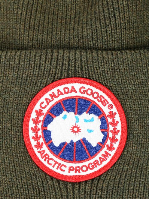 Шапка из шерсти с контрастной вставкой Canada Goose - Деталь