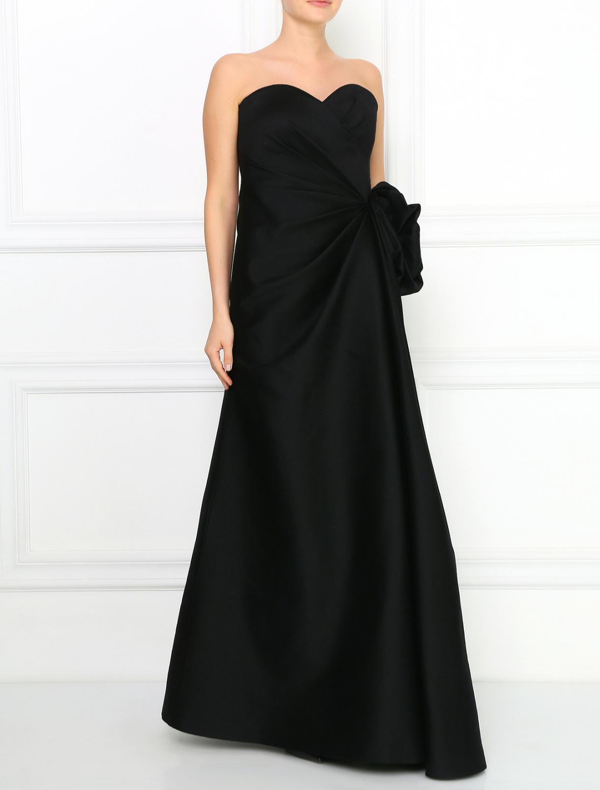 Платье-макси из шерсти и шелка с драпировкой Armani Collezioni  –  Модель Общий вид