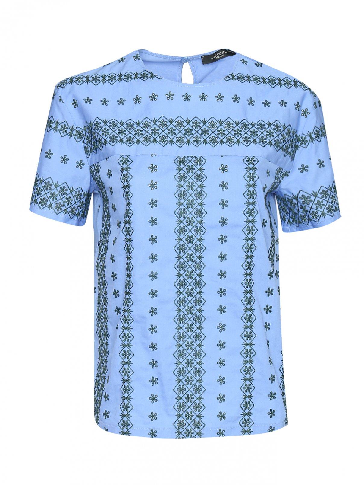 Блуза хлопковая с цветочной  вышивкой Weekend Max Mara  –  Общий вид