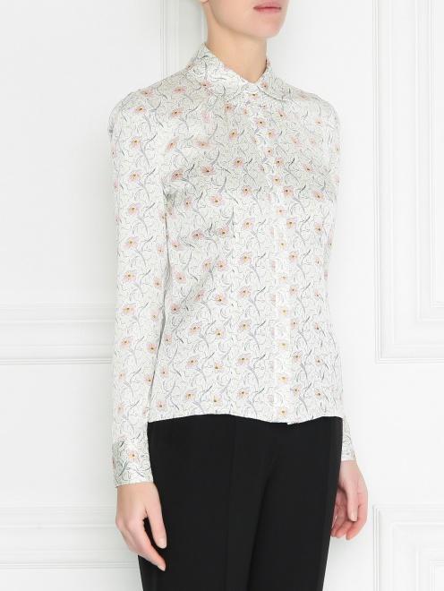 Шелковая блуза с цветочным узором - МодельВерхНиз