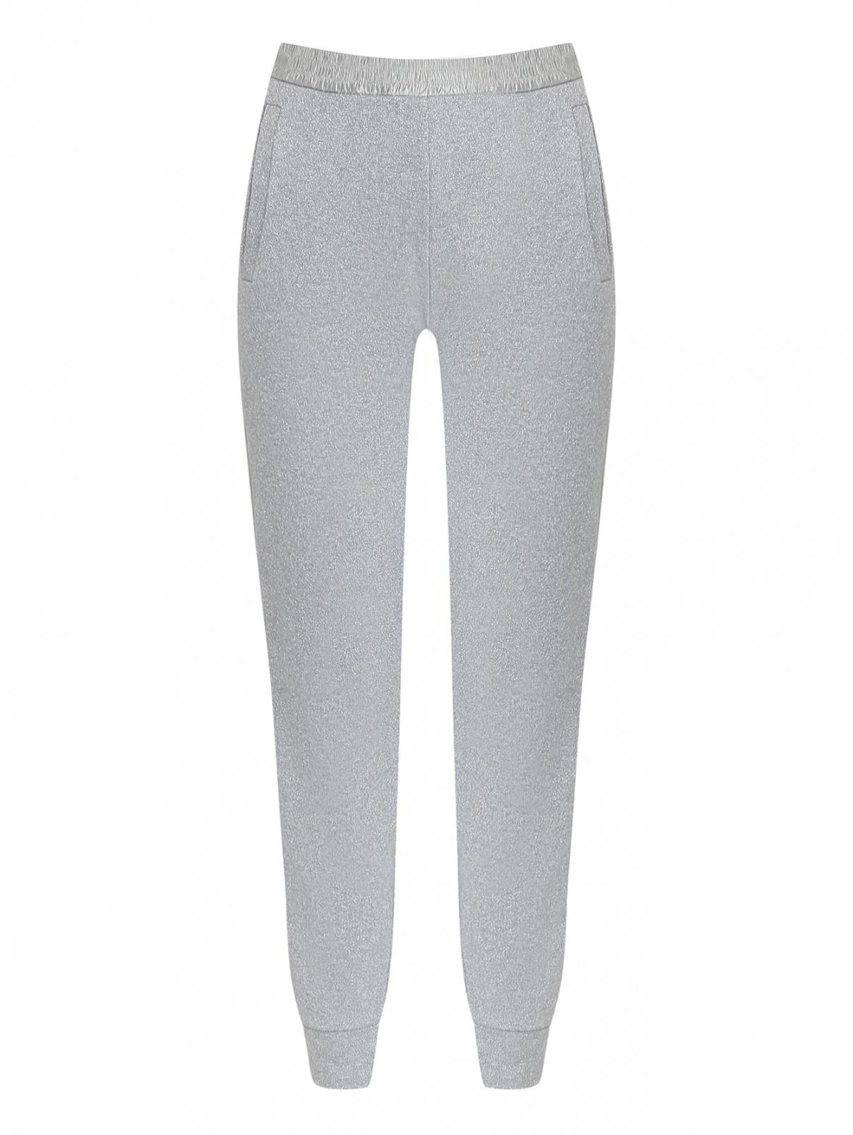 Трикотажные брюки из смешанного хлопка с люрексом Moncler  –  Общий вид