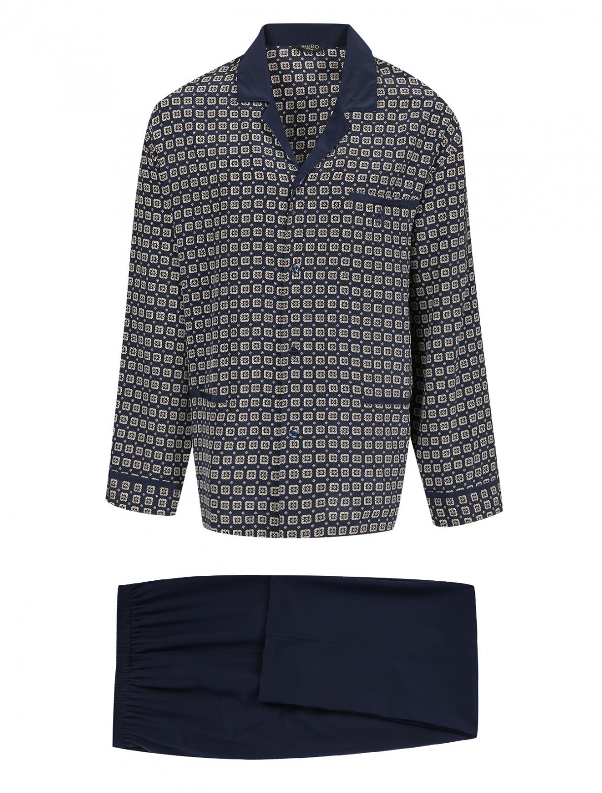 Пижама из шелка с узором NERO PERLA  –  Общий вид