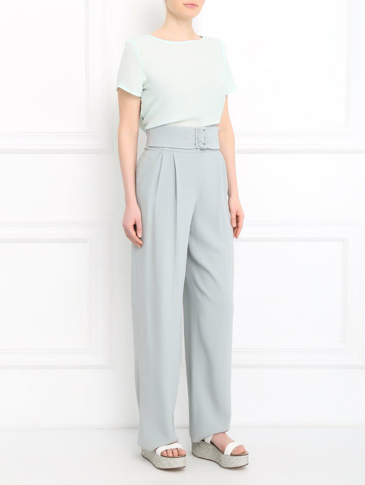 Укороченные брюки с декоративным поясом Emporio Armani  –  Модель Общий вид