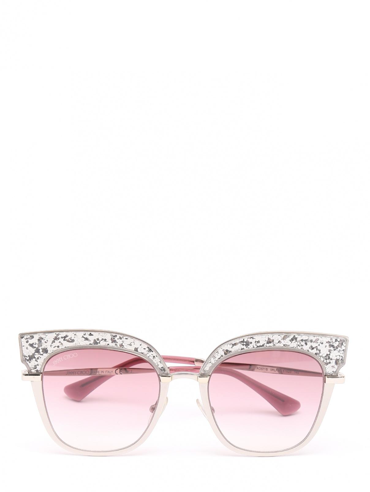 Солнцезащитные очки в оправе из пластика и металла с блестками Jimmy Choo  –  Общий вид