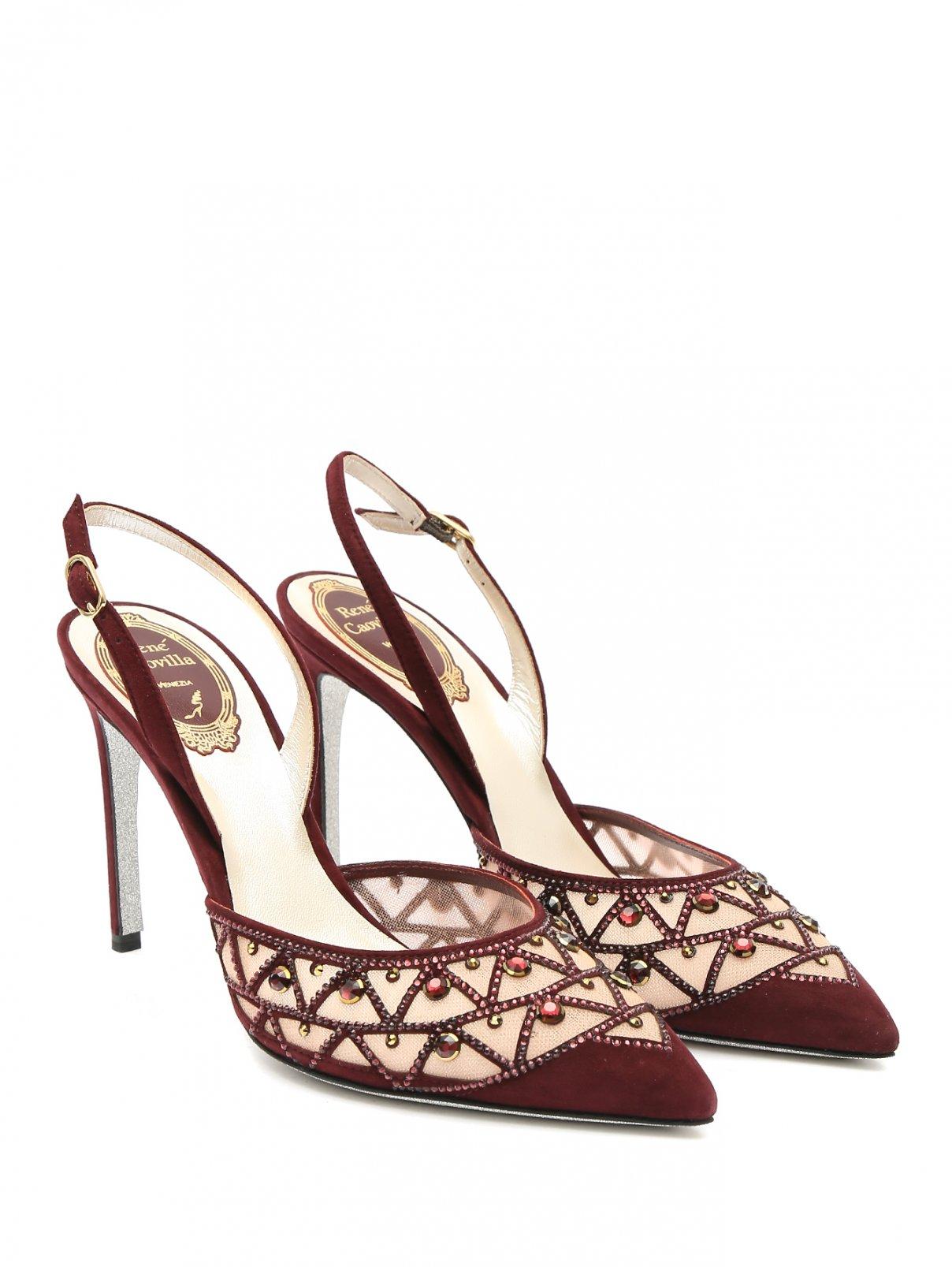 Туфли на шпильке с открытой пяткой и декором стразами René Caovilla  –  Общий вид