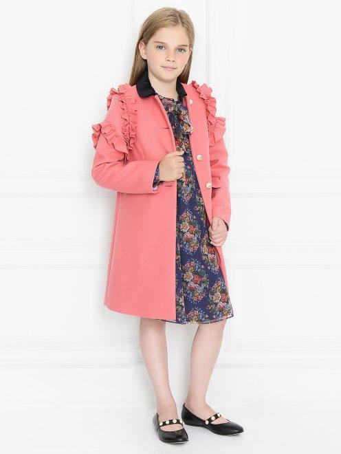 Шерстяное пальто с жемчужными пуговицами и бархатным воротником - Общий вид