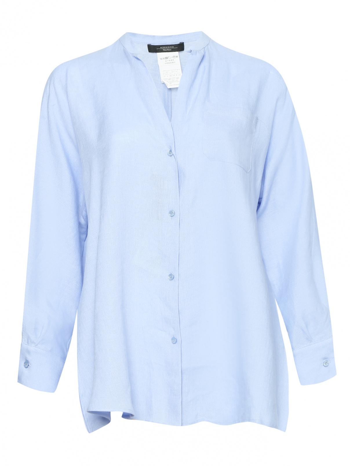Блуза из льна свободного кроя с накладным карманом Weekend Max Mara  –  Общий вид