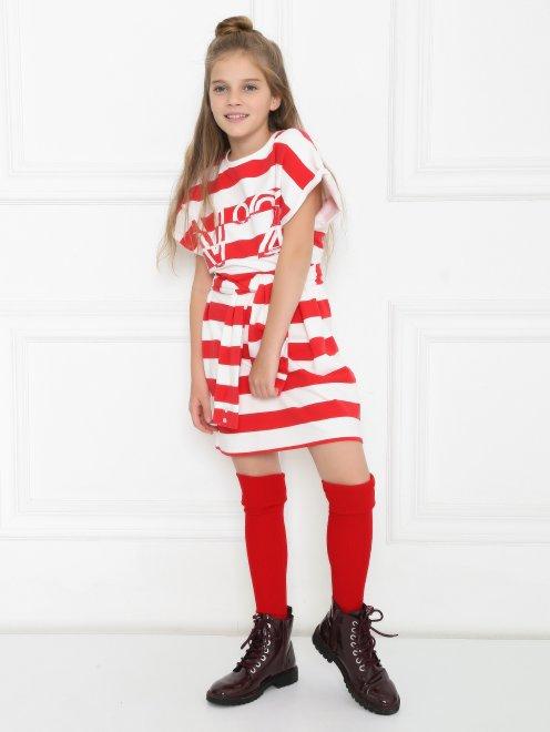 Платье трикотажное в широкую полоску - Общий вид