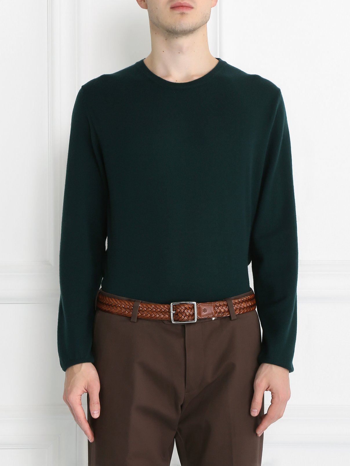 Ремень плетеный из кожи Brooks Brothers  –  Модель Общий вид