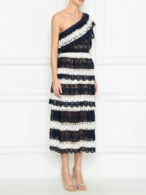 Платье из кружева контрастных цветов - МодельВерхНиз