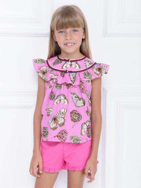 Блуза хлопковая с узором - МодельВерхНиз