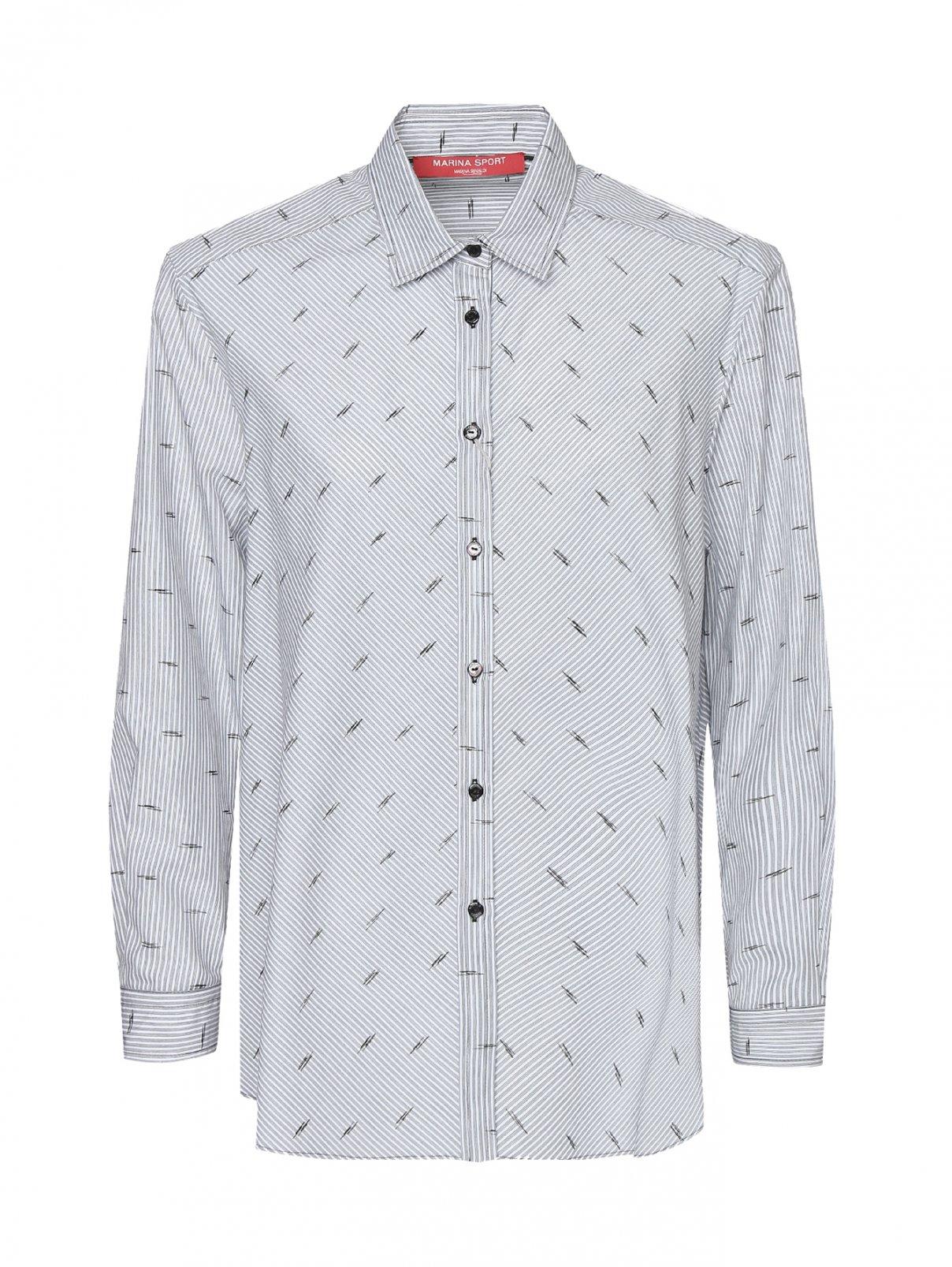 Рубашка хлопковая в полоску Marina Rinaldi  –  Общий вид